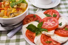 Mozzarella Cheese and Tomato Salad with Vegetable Soup stock images