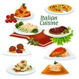 Italian cuisine dinner with dessert cartoon icon Stock Photo