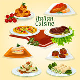Italian cuisine dinner icon with popular dishes Royalty Free Stock Image