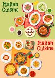 Italian cuisine traditional dishes and salads Royalty Free Stock Image