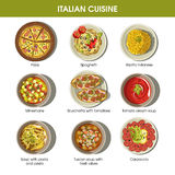 Italian cuisine flat colorful poster with traditional dishes Royalty Free Stock Images