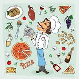 Italian cuisine and food hand-drawn illustration Stock Photography