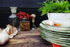 Italian cuisine - fresh italian herbs, garlic, dried red hot chi Royalty Free Stock Image