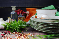 Italian cuisine - fresh italian herbs, garlic, dried red hot chi Stock Image