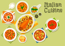 Italian cuisine healthy dinner icon. Italian cuisine icon with mushroom cream soup, tomato bean soup with sausage, florentine egg with spinach, minestrone pasta Stock Photos