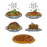 Italian cuisine icons. Set of colored vector outline icons Royalty Free Stock Photos