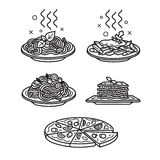 Italian cuisine icons. Set of vector outline icons Royalty Free Stock Image