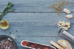 Free Italian Cuisine Ingredients Background On Blue Rustic Wood, Copy Space Stock Images - 100062564