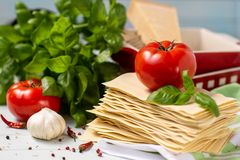Italian cuisine is lasagna. products for lasagna royalty free stock images