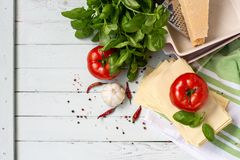 Italian cuisine is lasagna. products for lasagna royalty free stock photo