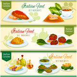 Italian cuisine lunch with dessert banner set Stock Photo