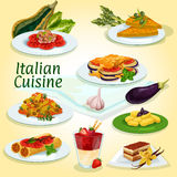 Italian cuisine main and dessert dishes icon. With milanese pasta, egg omelette, stuffed pasta, eggplant casserole, potato dumpling, coffee cake tiramisu Royalty Free Stock Photos