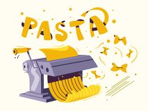 Italian food. Making delicious pasta. Cartoon vector illustration. royalty free illustration