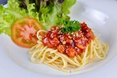 Italian cuisine, Meat sauce spaghetti Royalty Free Stock Image