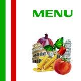 Italian cuisine menu design background. Italian cuisine restaurant menu design background with watercolor illustration Royalty Free Stock Photography