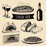 Italian cuisine menu. Hand sketched traditional southern europe food signs. Vector set of mediterranean meal elements. Stock Photos