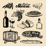 Italian cuisine menu. Hand sketched traditional southern europe food signs. Vector set of mediterranean meal elements. Royalty Free Stock Image