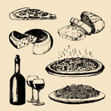 Italian cuisine menu. Hand sketched traditional southern europe food signs. Vector set of mediterranean meal elements. Royalty Free Stock Images