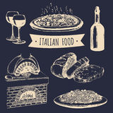 Italian cuisine menu. Hand sketched traditional southern europe food signs. Vector set of mediterranean meal elements. Stock Images