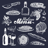 Italian cuisine menu.Sketched traditional southern europe food and drink signs.Vector set of mediterranean meal elements Stock Photography