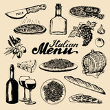 Italian cuisine menu.Sketched traditional southern europe food and drink signs.Vector set of mediterranean meal elements Royalty Free Stock Image