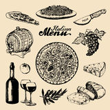 Italian cuisine menu.Sketched traditional southern europe food and drink signs.Vector set of mediterranean meal elements Stock Image