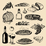 Italian cuisine menu.Sketched traditional southern europe food and drink signs.Vector set of mediterranean meal elements Royalty Free Stock Photo