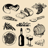 Italian cuisine menu.Sketched traditional southern europe food and drink signs.Vector set of mediterranean meal elements Royalty Free Stock Photography