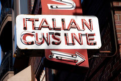 Italian Cuisine Neon Sign Royalty Free Stock Photo