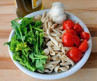 Italian Cuisine - orecchiette and turnip greens Royalty Free Stock Photos