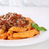Italian cuisine pasta Bolognese or Bolognaise sauce noodles meal Royalty Free Stock Photography