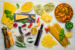 Italian Cuisine Pasta and Cooking Ingredients Stock Images