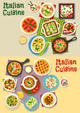 Italian cuisine pasta dishes icon set design. Italian cuisine pasta dishes icon set. Pasta with meat, vegetable sauce, fish and spinach, meatball spaghetti Stock Photos