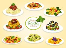 Italian cuisine pasta dishes, vector. Italian pasta dishes with meat, seafood, cheese and vegetables. Vector spaghetti, macaroni and penne with tomato bolognese vector illustration