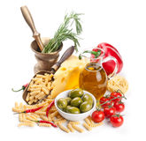 Italian cuisine. Pasta ingredients Royalty Free Stock Images