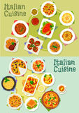 Italian cuisine pasta and pizza dishes icon Stock Photography