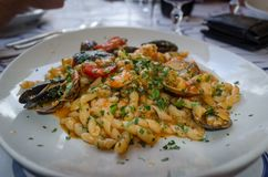 Italian cuisine - pasta with seafood royalty free stock photography