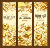 Italian cuisine pasta and spaghetti sketch banner. Italian pasta, organic durum spaghetti sketch banner set. Assortment shapes of italian cuisine pasta poster Royalty Free Stock Photos