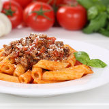 Italian cuisine Penne Rigate Bolognese sauce noodles pasta meal Stock Image
