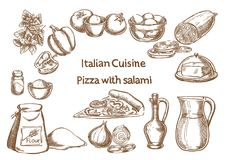 Italian cuisine. Pizza with salami ingredients Stock Images
