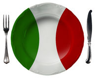 Italian Cuisine - Plate And Cutlery Royalty Free Stock Photo