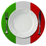 Italian Cuisine - Plate And Cutlery Stock Photos