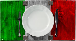 Italian Cuisine - Plate and Cutlery Royalty Free Stock Images