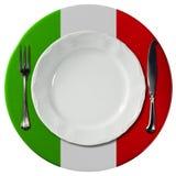 Italian Cuisine - Plate and Cutlery Stock Photos