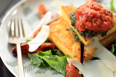 Italian cuisine polenta served with bolognese sauce Royalty Free Stock Images
