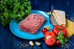 Products for the preparation of Pasta Bolognese. Minced meat, tomatoes, spaghetti, Basil, Parmesan cheese, spices Stock Image