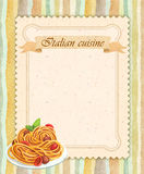 Italian cuisine restaurant menu card design in vintage style. Portrait format Royalty Free Stock Image
