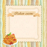 Italian cuisine restaurant menu card design in vintage style. Square format Royalty Free Stock Photos