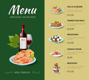 Italian cuisine restaurant menu. Vector design Stock Image