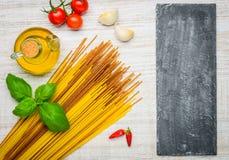 Italian Cuisine Spaghetti and Copy Space Stock Photography
